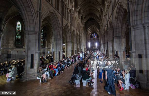Models walk the runway at the TOGA show during London Fashion Week September 2017 on September 18 2017 in London England