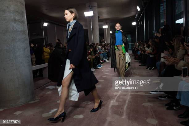 Models walk the runway at the Toga show during London Fashion Week February 2018 on February 17 2018 in London England