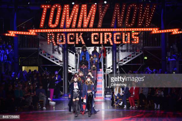 Models walk the runway at the TOMMYNOW by Tommy Hilfiger Fall Winter 2017 fashion show during London Fashion Week on September 19 2017 in London...