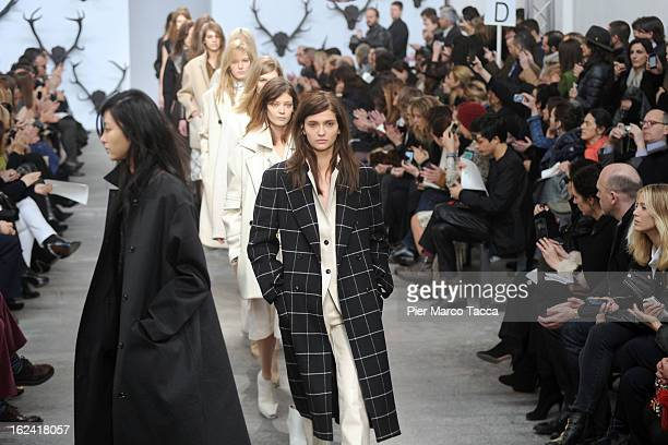 Models walk the runway at the Trussardi fashion show as part of Milan Fashion Week Womenswear Fall/Winter 2013/14 on February 23 2013 in Milan Italy