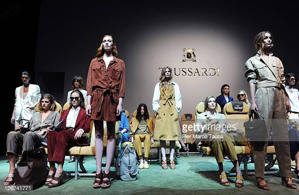Models walk the runway at the Trussardi Spring/Summer 2012 fashion show as part of Milan Womenswear Fashion Week on September 23 2011 in Milan Italy