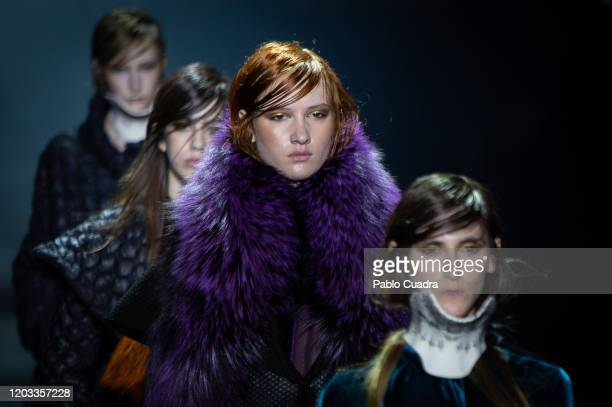 Models walk the runway at the Ulises Merida fashion show during Mercedes Benz Fashion Week Madrid Autumn/Winter 2020-21 at Ifema on February 01, 2020...