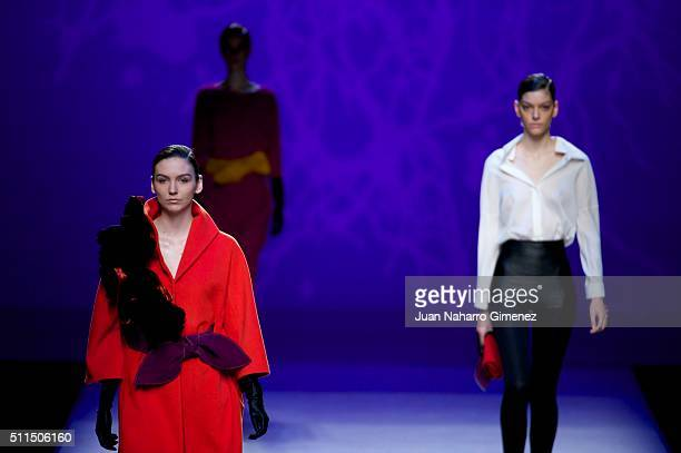 Models walk the runway at the Ulises Merida show during the Mercedes-Benz Madrid Fashion Week Autumn/Winter 2016/2017 at Ifema on February 21, 2016...