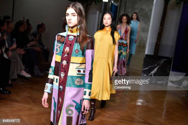 Models walk the runway at the Valentino Autumn Winter 2017 fashion show during Paris Fashion Week on March 5 2017 in Paris France