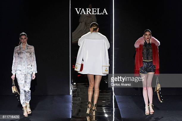 Models walk the runway at the Varela show during the Mercedes-Benz Madrid Fashion Week Autumn/Winter 2016/2017 at Ifema on February 22, 2016 in...