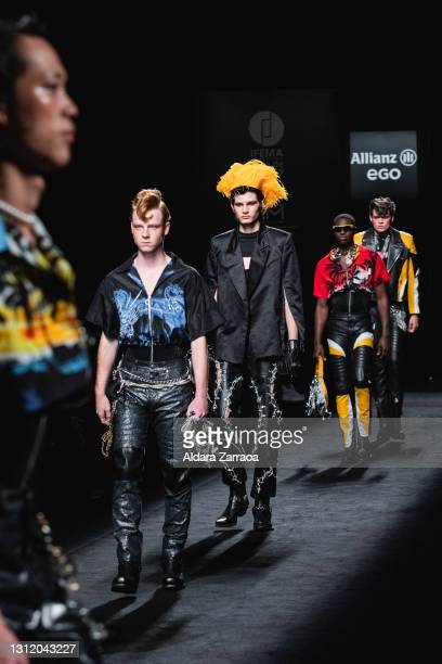 Models walk the runway at the Velásquez fashion show during Samsung EGO Mercedes Benz Fashion Week Madrid April 2021 at Ifema on April 11, 2021 in...