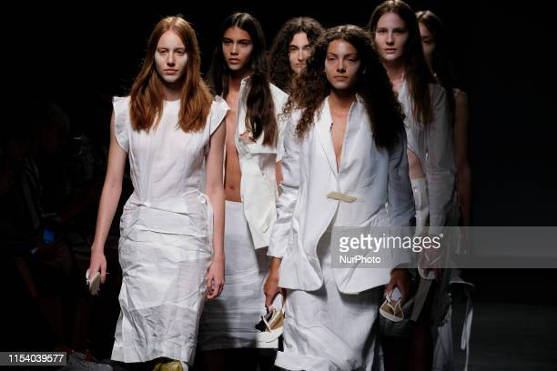 Models walk the runway at the VENICEW fashion show during the EGO Mercedes Benz Fashion Week Spring/Summer 2020 at IFEMA on July 06, 2019 in Madrid,...