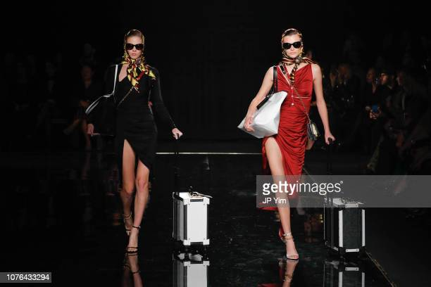 Models walk the runway at the Versace PreFall 2019 Collection at The American Stock Exchange on December 02 2018 in New York City