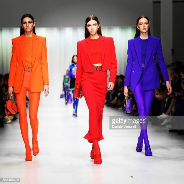 Models walk the runway at the Versace show during Milan Fashion Week Spring/Summer 2018 on September 22 2017 in Milan Italy