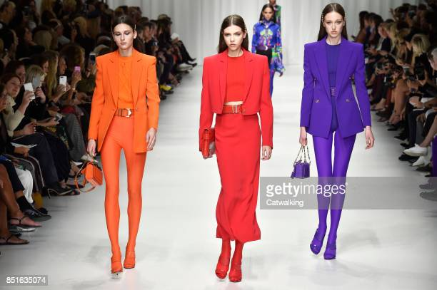 Models walk the runway at the Versace Spring Summer 2018 fashion show during Milan Fashion Week on September 22 2017 in Milan Italy