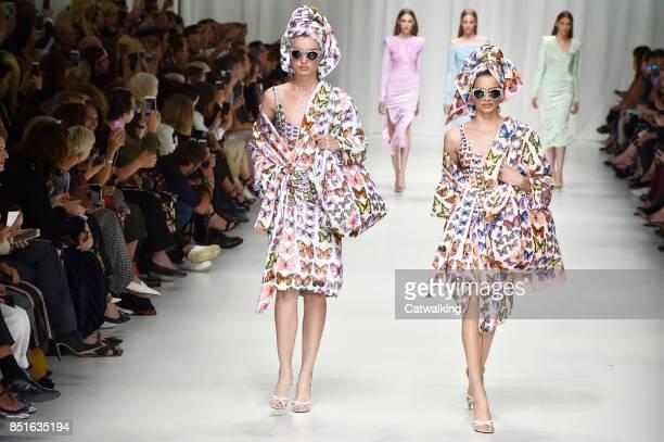 Models walk the runway at the Versace Spring Summer 2018 fashion show during Milan Fashion Week on September 22, 2017 in Milan, Italy.