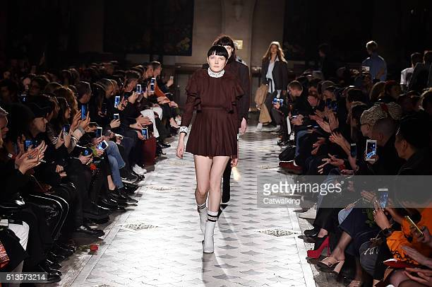 Models walk the runway at the Vetements Autumn Winter 2016 fashion show during Paris Fashion Week on March 3 2016 in Paris France