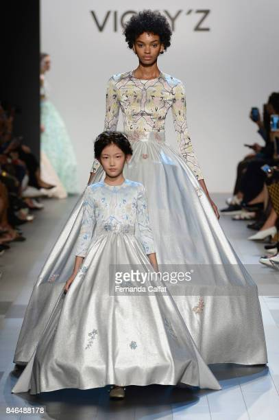 Models walk the runway at the Vicky Zhang fashion show during New York Fashion Week The Shows at Gallery 1 Skylight Clarkson Sq on September 13 2017...