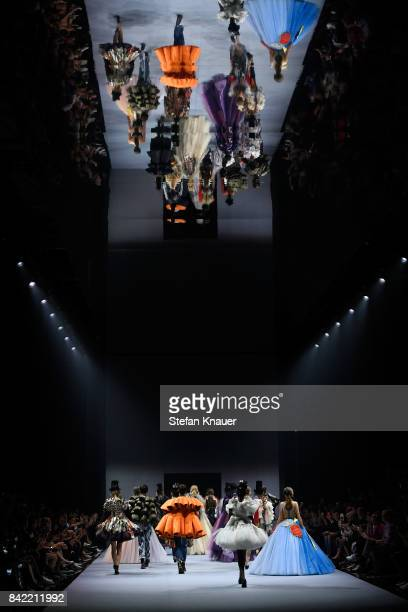 Models walk the runway at the Viktor & Rolf show during the Bread & Butter by Zalando at B&&B Stage, arena Berlin on September 3, 2017 in Berlin,...