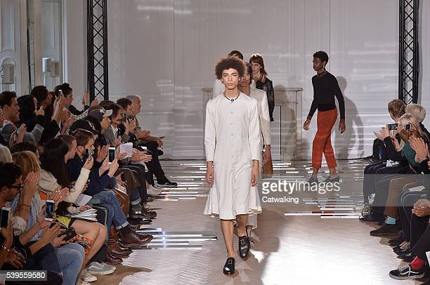 Models walk the runway at the Wales Bonner Spring Summer 2017 fashion show during London Menswear Fashion Week on June 12 2016 in London United...