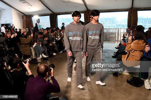 Models walk the runway at the Xander Zhou show during London Fashion Week Men's January 2019 January 06 2019 in London England