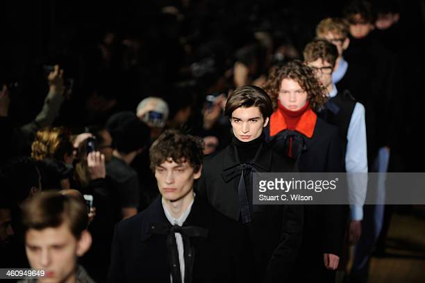 Models walk the runway at the Xander Zhou show during The London Collections Men Autumn/Winter 2014 on January 6 2014 in London England