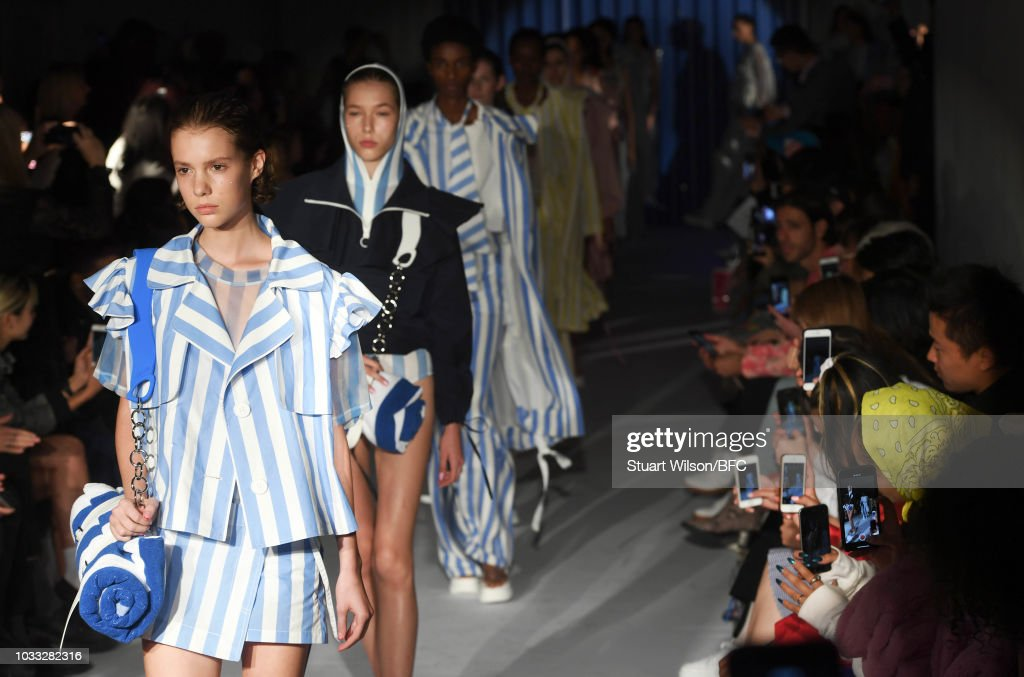Models walk the runway at the Xiao Li Show during London Fashion Week September 2018 at The BFC Show Space on September 14, 2018 in London, England.