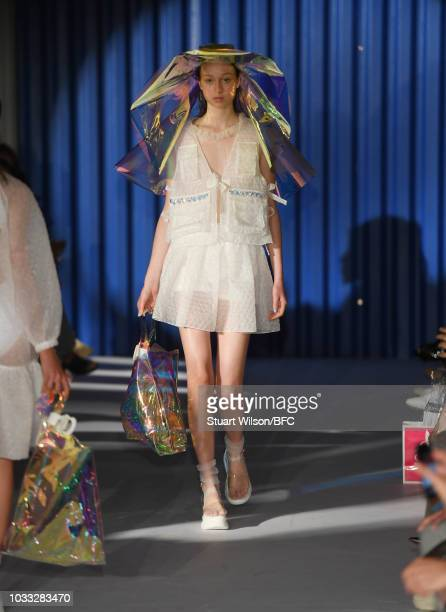 Models walk the runway at the Xiao Li Show during London Fashion Week September 2018 at The BFC Show Space on September 14 2018 in London England