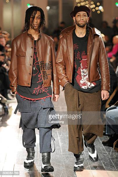 Models walk the runway at the Yohji Yamamoto Autumn Winter 2016 fashion show during Paris Menswear Fashion Week on January 21, 2016 in Paris, France.