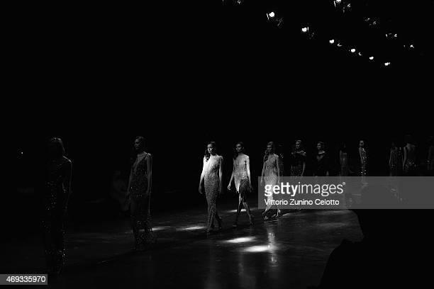 Models walk the runway at the Yousef AlJasmi show during Dubai Fashion Forward April 2015 at Madinat Jumeirah on April 11 2015 in Dubai United Arab...
