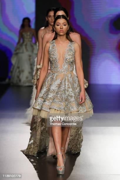 Models walk the runway at the Zainab Al Kisswani show during Jordan Fashion Week 019 at the Kempinski Amman on March 29 2019 in Amman Jordan
