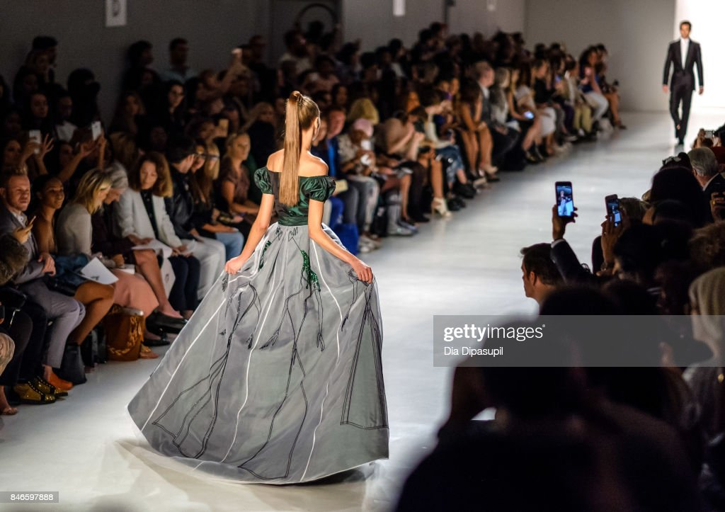 Models walk the runway at the Zang Toi fashion show during New York Fashion Week: The Shows at Gallery 3, Skylight Clarkson Sq on September 13, 2017 in New York City.