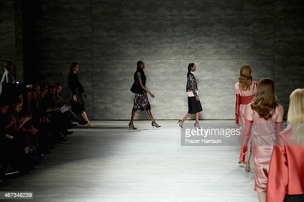 Models walk the runway at Tome fashion show during MercedesBenz Fashion Week Fall 2014 at The Pavilion at Lincoln Center on February 6 2014 in New...