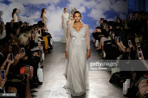 Models walk the runway at TRESemme at Jenny Packham Bridal AW14 on April 11 2014 at Industria Studios in New York City