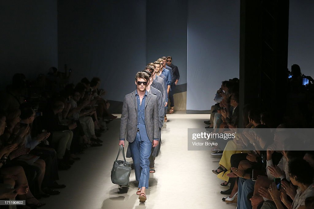 Models walk the runway at Trussardi show during Milan Menswear Fashion Week Spring Summer 2014 on June 23, 2013 in Milan, Italy.
