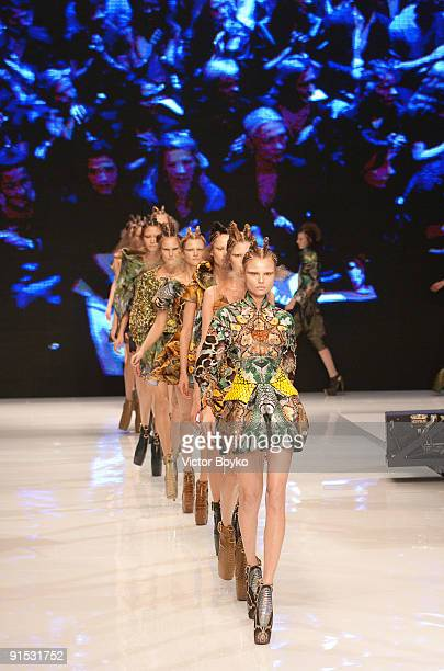 Models walk the runway during Alexander McQueen Pret a Porter show as part of the Paris Womenswear Fashion Week Spring/Summer 2010 at Palais...