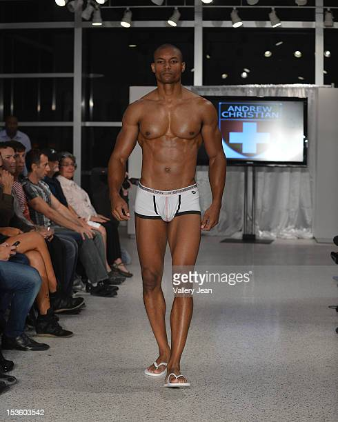 Models walk the runway during Andrew Christian at the 2012 SoBe Men's Show on October 5 2012 in Miami Beach Florida