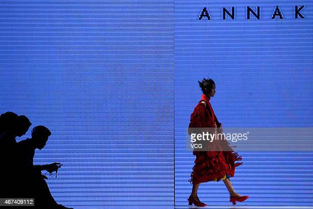 Models walk the runway during Annakiki show as part of the Shenzhen Fashion Week A/W 2015 at OCT Harbour on March 24 2015 in Shenzhen Guangdong...
