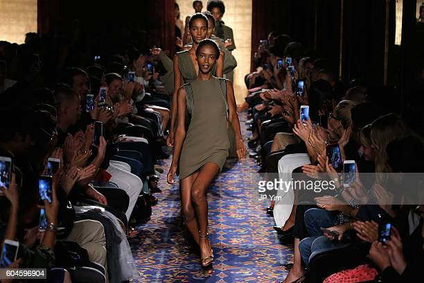 Models walk the runway during Brandon Maxwell's show at New York Fashion Week at Russian Tea Room on September 13 2016 in New York City