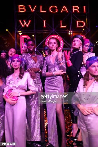 Models walk the runway during BVLGARI Dinner Party at Stadio dei Marmi on June 28 2018 in Rome Italy