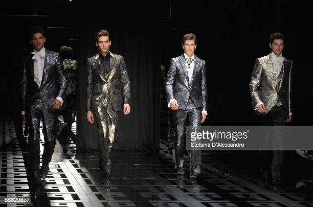 Models walk the runway during Carlo Pignatelli Cerimonia Fashion Show as part as Milan Fashion Week Menswear Spring/Summer 2010 on June 19 2009 in...