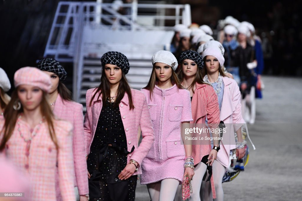 Models walk the runway during Chanel Cruise 2018/2019 Collection at Le Grand Palais on May 3, 2018 in Paris, France.