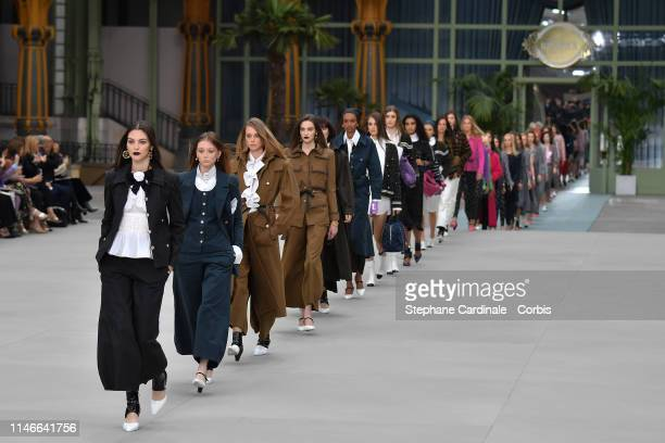 Models walk the runway during Chanel Cruise 2020 Collection at Le Grand Palais on May 03, 2019 in Paris, France.