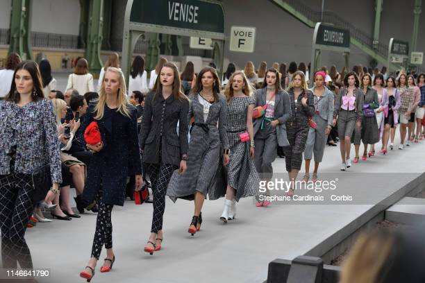 Models walk the runway during Chanel Cruise 2020 Collection at Le Grand Palais on May 03 2019 in Paris France