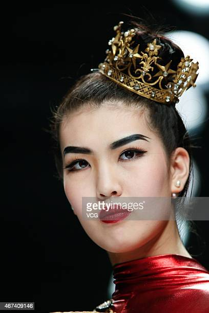 Models walk the runway during Eric Tibusch show as part of the Shenzhen Fashion Week A/W 2015 at OCT Harbour on March 24 2015 in Shenzhen Guangdong...