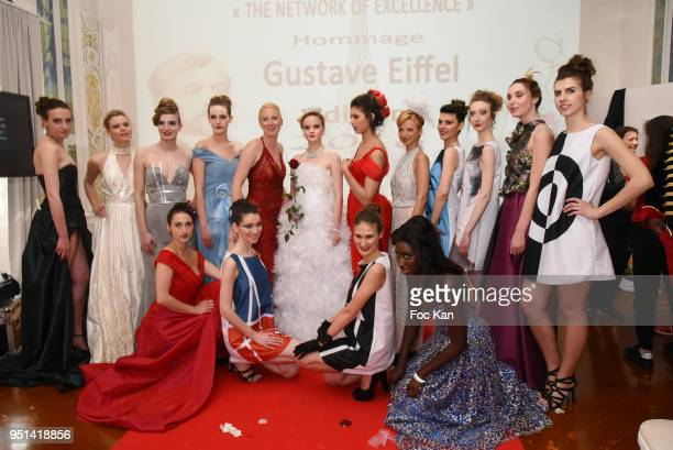 Models walk the Runway during 'Fashion Night Couture' 8th Edition at Galerie de Miroirs on April 25 2018 in Paris France