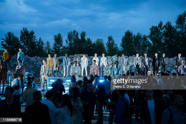 Models walk the runway during Finale at the Ermenegildo Zegna fashion show during the Milan Men's Fashion Week Spring/Summer 2020 on June 14 2019 in...