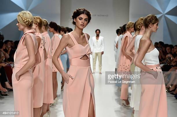 Models walk the runway during Finale at the House Of Nomad show during Dubai Fashion Forward Spring/Summer 2016 at Madinat Jumeirah on October 24...