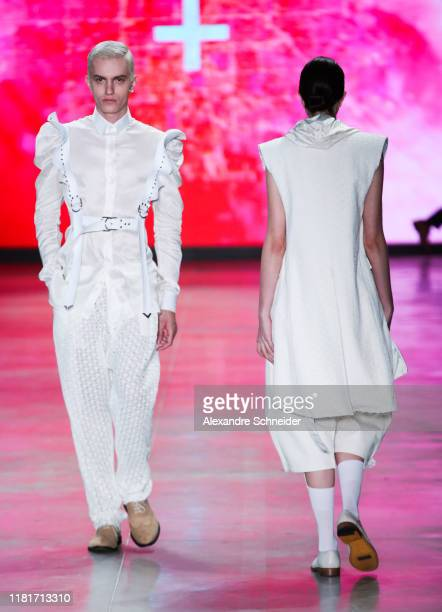 Models walk the runway during Joao Pimenta show during SPFW N48 Day 3 at Pavilhao das Culturas Brasileiras on October 17 2019 in Sao Paulo Brazil