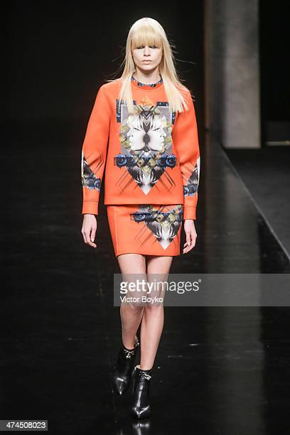 Models walk the runway during John Richmond show as part of Milan Fashion Week Womenswear Autumn/Winter 2014 on February 23 2014 in Milan Italy