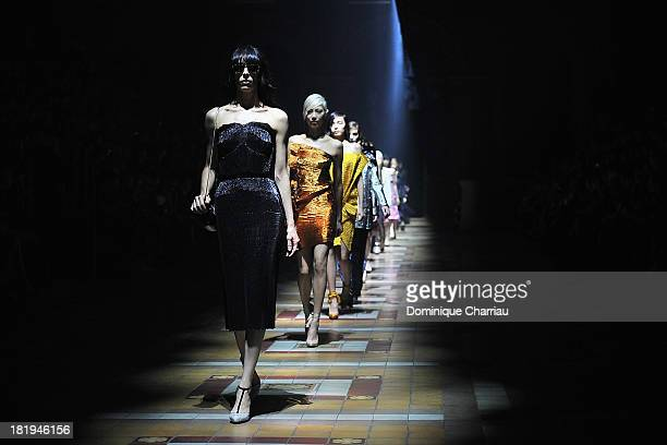 Models walk the runway during Lanvin show as part of the Paris Fashion Week Womenswear Spring/Summer 2014 on September 26 2013 in Paris France