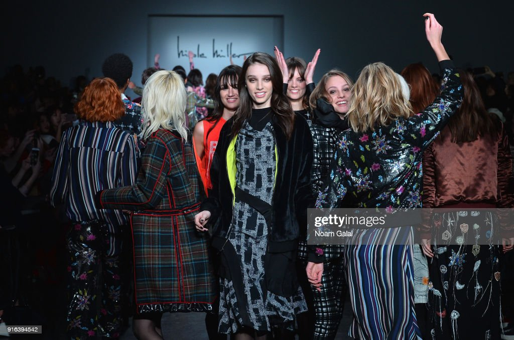 Models walk the runway during Mary Kary at Nicole Miller Fall 2018 at Industria Studios on February 9, 2018 in New York City.