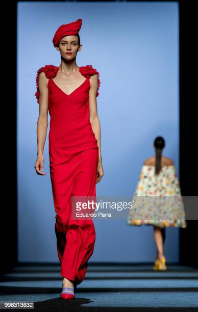 Models walk the runway during Menchen Tomas show at Mercedes Benz Fashion Week Madrid Spring/ Summer 2019 on July 11 2018 in Madrid Spain on July 11...