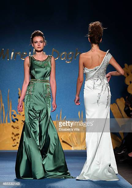 Models walk the runway during Mireille Dagher S/S 2014 International Haute Couture colletion fashion show as part of AltaRoma AltaModa Fashion Week...