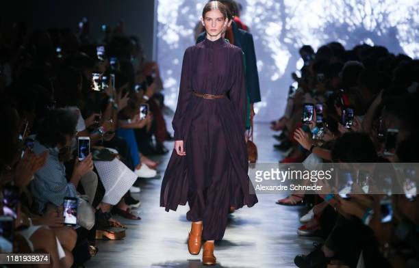 Models walk the runway during Neriage show during SPFW N48 Day 4 at Pavilhao das Culturas Brasileiras on October 18 2019 in Sao Paulo Brazil